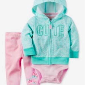 Carter's Baby Girl 3 piece Cute hoodie outfit set